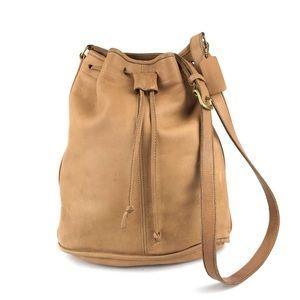 COACH Lightweight Tan Leather Drawstring Crossbody
